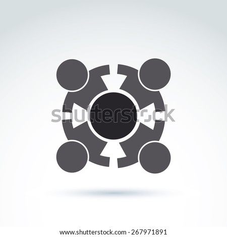 Teamwork and business team and friendship icon, social group, organization, vector conceptual unusual symbol for your design. - stock photo