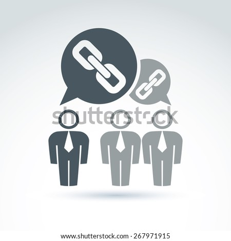 Teamwork and business team with chain link icon, linked social relations, organization, vector conceptual unusual symbol for your design. - stock photo