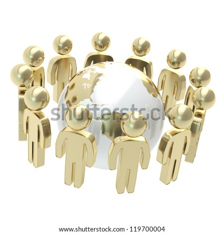 Teamwork and general idea concept: group of symbolic people surrounding Earth globe isolated on white background