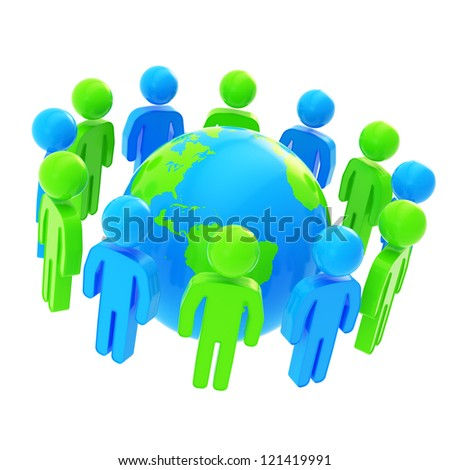 Teamwork and general idea concept: group of symbolic people surrounding Earth globe isolated on white background - stock photo
