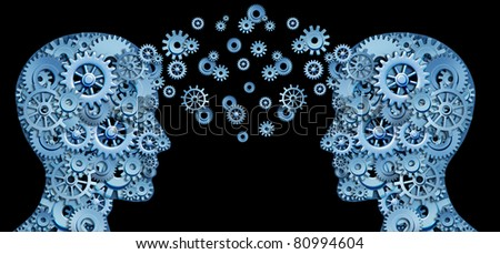 Teamwork and Leadership with education symbol represented by two human heads shaped with gears and cogs representing the concept of intellectual communication through technology exchange. - stock photo