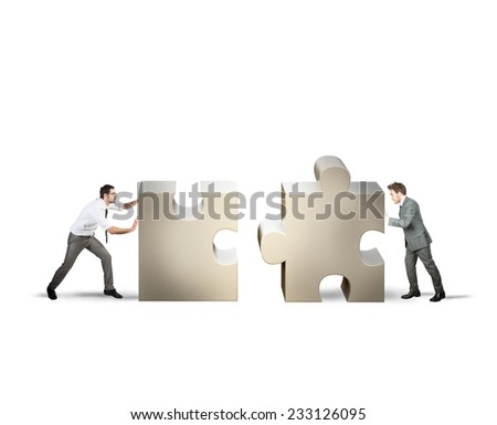 Teamwork and partnership concept of two businessman - stock photo
