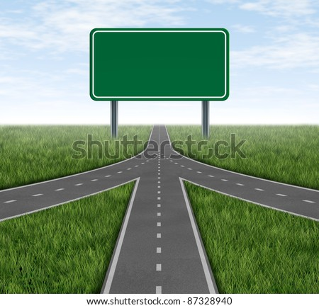 Teamwork and partnerships connecting on the same path as a team sharing the same strategy and vision for the success of a company by working together merging as one with a blank green highway sign. - stock photo