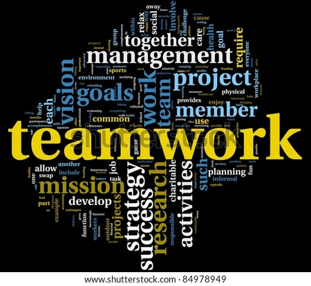 Teamwork and strategy concept in word tag cloud isolated on black - stock photo