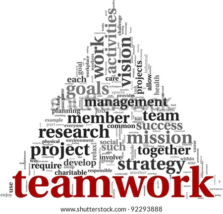 Teamwork and strategy concept in word tag cloud on white background - stock photo