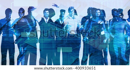 Teamwork and Striving for Success Together in Business 3D Illustration - stock photo