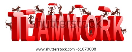 teamwork ants cooperation and collaboration in building word - stock photo