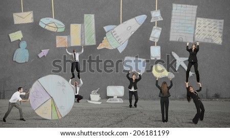 Teamwork builds a new creative business project - stock photo