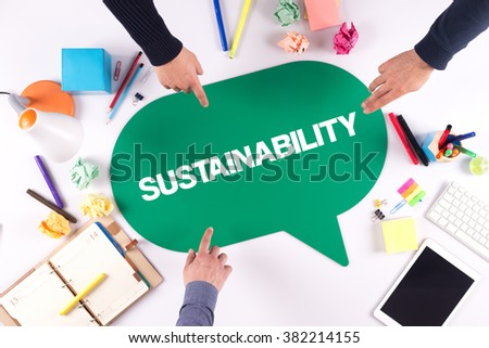 TEAMWORK BUSINESS BRAINSTORM SUSTAINABILITY CONCEPT - stock photo