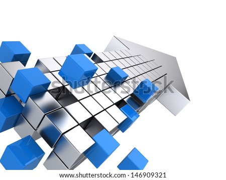 Teamwork business concept - arrow assembling from blocks - stock photo