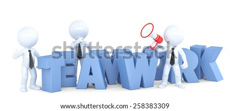 Teamwork. Business concept. Isolated 3d illustration. Contains clipping path - stock photo