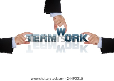 teamwork business concept isolated on white background - stock photo