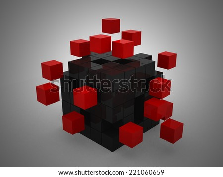 teamwork business concept with red cubes - 3d render - stock photo
