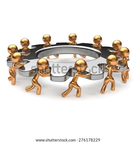 Teamwork business process hard job partnership men characters turning gear wheel gearwheel cogwheel together. Team cooperation manpower unity activism concept. 3d render isolated on white - stock photo