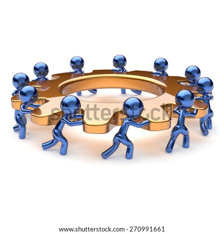 Teamwork business process mans start turning golden gear together. Partnership team cooperation relationship community efficiency concept. 3d render isolated on white - stock photo