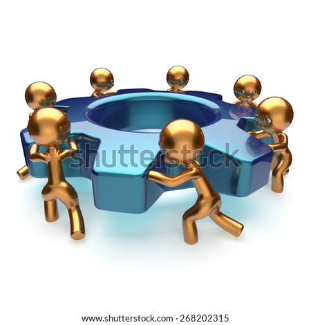 Teamwork business process workers start turning gear together. Partnership team cooperation relationship community efficiency concept. 3d render isolated on white - stock photo