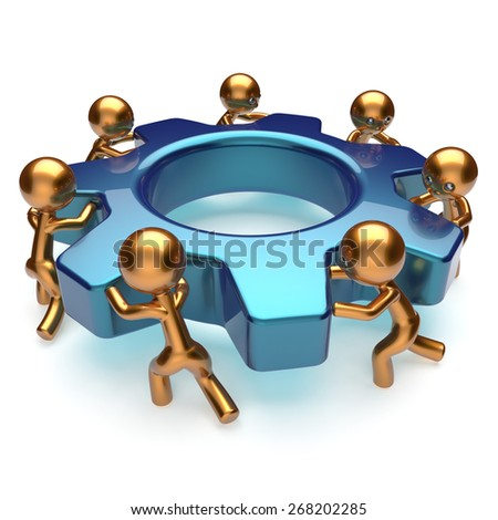 Teamwork business process workers turning gear together. Partnership team cooperation relationship efficiency community workforce concept. 3d render isolated on white - stock photo