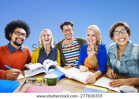 Teamwork Casual Cheerful Brainstorming Learning Concept - stock photo