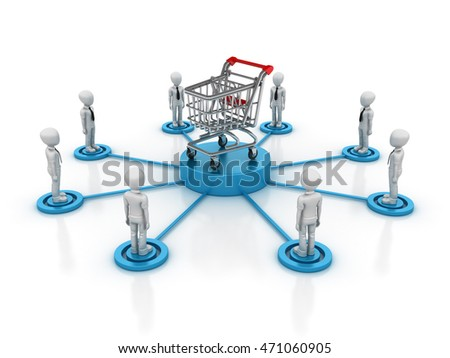 Teamwork Characters with Shopping Cart - Teamwork Concept  - High Quality 3D Rendering