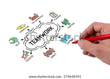 Teamwork. Chart with keywords and icons - Sketch - stock photo