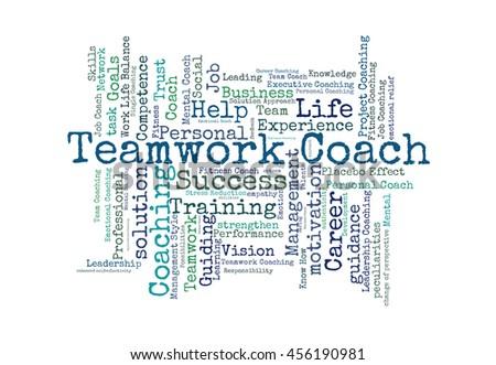 Teamwork coach word cloud o a white background - stock photo