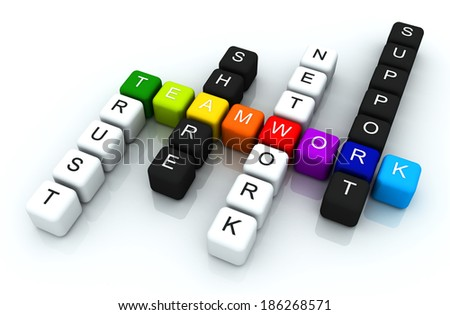 Teamwork colorful box Crossword 3D render - stock photo