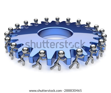 Teamwork community business men partnership turning gear together. Team brainstorming process cooperation assistance hard work efficiency unity concept. 3d render isolated on white - stock photo