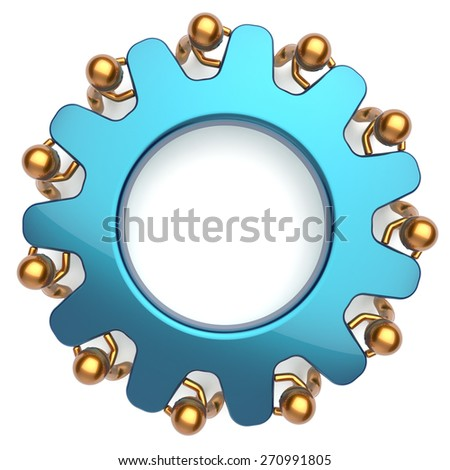 Teamwork community business process 11 mans turning gear together. Brainstorming partnership team cooperation relationship workers efficiency concept. 3d render isolated on white - stock photo