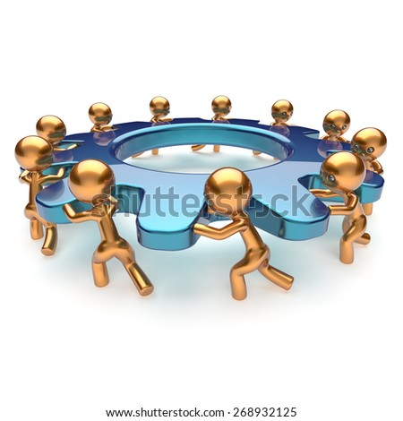 Teamwork community power business process mans turning gear together. Brainstorming partnership team cooperation relationship workers efficiency concept. 3d render isolated on white - stock photo