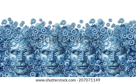 Teamwork concept as a working business group of human heads shaped with machine gears and cog wheels connected together as a technology symbol for future computing collaboration through social media. - stock photo