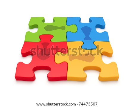 Teamwork concept by jigsaw puzzle pieces - stock photo