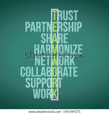 teamwork concept crossword illustration design graphic background - stock photo