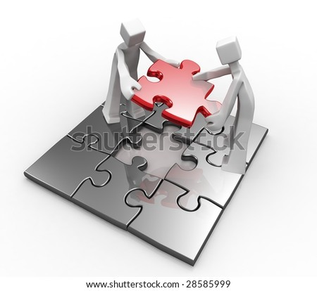 Teamwork concept 3d mans working together to complete the last piece puzzle isolated - stock photo
