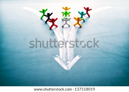 Teamwork concept, group of people with the same goal - stock photo