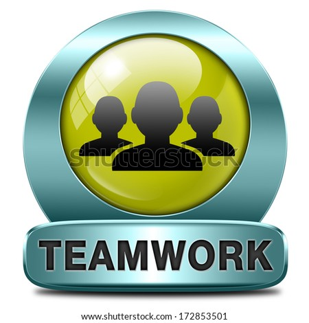 teamwork concept icon, team work and cooperation in partnership working together business partners - stock photo