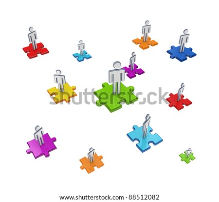 Teamwork concept.Isolated on white background.3d rendered. - stock photo