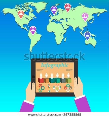 Teamwork. Concept of global business communication. Tablet and people all over the world . Flat illustration  - stock photo
