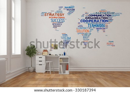 Charmant Teamwork Concept On World Map On A Wall In Home Office Over Desk (3D  Rendering