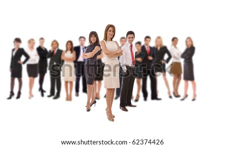 teamwork concept with a big diverse business group - stock photo