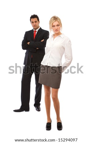 teamwork concept with businessman and businesswoman - stock photo