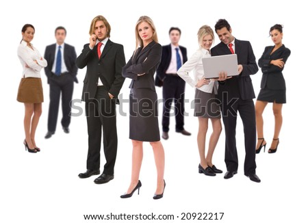 teamwork concept with lots of business people on white - stock photo