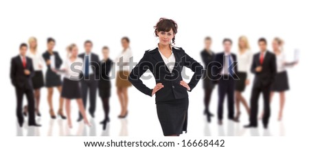 teamwork concept with manager on the front and team in the back - stock photo