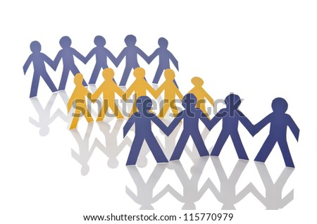 Teamwork concept with paper cut people