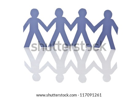 Teamwork concept with paper cut people - stock photo
