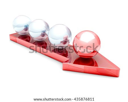 Teamwork Concept With Red Leader Sphere On Arrow Forward. 3d Render Illustration - stock photo