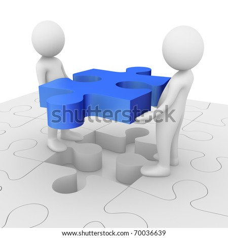 Teamwork: 3D anonymous characters assembling a jigsaw puzzle - stock photo