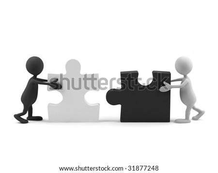 Teamwork. 3d image. - stock photo