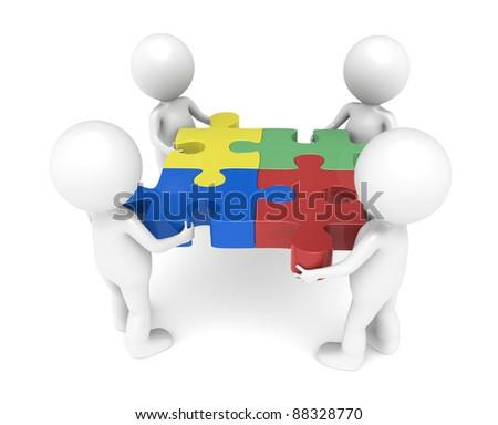 Teamwork. 3d little human character X4, The Team, each one holding a piece. - stock photo