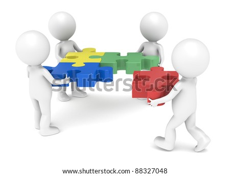 Teamwork. 3d little human character X4, The Team, solving a jigsaw puzzle. - stock photo
