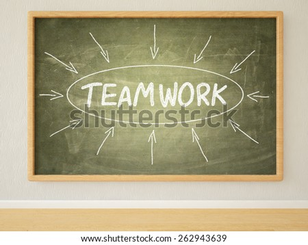 Teamwork - 3d render illustration of text on green blackboard in a room.  - stock photo